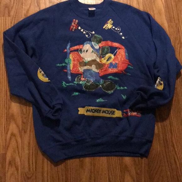 Rare VTG Mickey Mouse Airplane Theme Sweatshirt